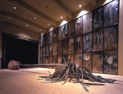 Anselm Kiefer, Palmsonntag, 2007 36 panels of mixed media on board (in lead frame under glass), fiberglass and resin palm tree, clay bricks and steel support, Dimensions variablePhoto by Douglas M. Parker Studio