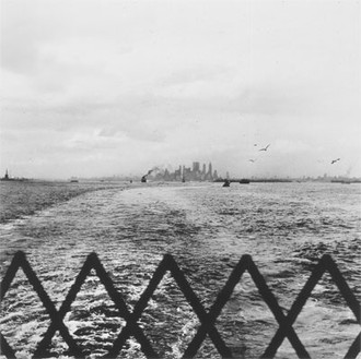 Ed Ruscha, Manhattan as Seen from Staten Island Ferry, 1961/97 Gelatin silver print, Paper: 14 × 11 inches (35.6 × 27.9 cm)