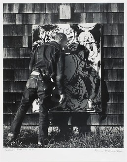 Hans Namuth, J. Pollock with His Work No. 22, 1951, 1951 B & W photograph, 11 × 14 inches (27.9 × 35.6 cm), edition of 90