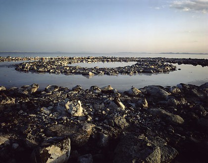 "Todd Eberle, Robert Smithson's ""Spiral Jetty,"" Great Salt Lake, Utah, April 11, 2005 Chromogenic print, 50 × 60 inches (127 × 152.4 cm), edition of 3© Todd Eberle"