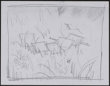 Dan Colen, Group II: Pollinating, 2008 Pencil on paper, 11 3/16 × 13 11/16 × 1 ⅜ inches framed (28.4 × 34.8 × 3.5 cm)
