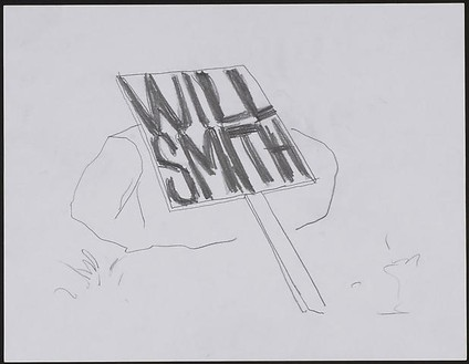 Dan Colen, Group VII: Will Smith (sideways), 2008 Pencil on paper, 11 3/16 × 13 11/16 × 1 ⅜ inches framed (28.4 × 34.8 × 3.5 cm)