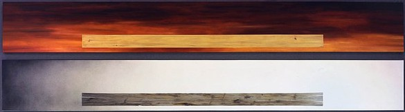 Ed Ruscha, Plank/Plank in Decline, 1979/2007 Oil and acrylic on canvas, 20 × 159 inches each (51 × 404 cm)