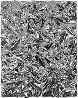 Anselm Reyle, Untitled, 2008 Foil and acrylic glass on canvas, 99 × 79 × 11 inches (251.6 × 200.6 × 27.7 cm)