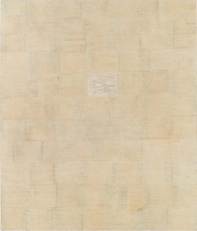 Ellen Gallagher, Laugh Tracks, 1994 Mixed media on canvas, 84 × 72 inches (213.4 × 182.9 cm)