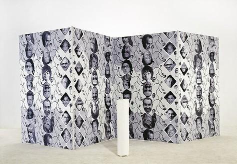 Franz West, NYCNAC, 2001/08 (view 1) 6 paßstücke: Epoxydharz; Screen: wood, paper, paint; Video, Each paßstücke: 39 ⅜ × 7 ⅞ × 9-13/16 inches (100 × 20 × 25 cm); 4 screen wings, each: 94 ½ (H) × 63 inches 240 (H) × 160 cm