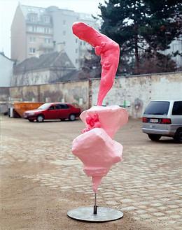 Franz West, Untitled, 2007 Papier-mâché, styrofoam, epoxy resin, lacquer, metal, 114 3/16 × 39 ⅜ × 39 ⅜ inches (290 × 100 × 100 cm)