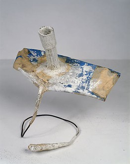 Franz West, Paßstück, c. 1980 Cardboard roll, metal, scotch tape, paper, glue, fabric and dispersion paint, 17-11/16 × 17-11/16 × 11 ⅝ inches (45 × 45 × 29.5 cm)