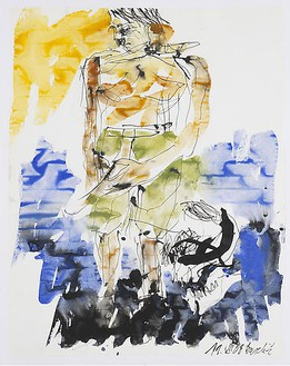 Georg Baselitz, Untitled (11.07.2008), 2008 India ink and watercolor on paper, 26 × 20 ⅛ inches (66 × 51 cm)