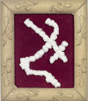 Julian Schnabel, Untitled (Cotton Ball Painting), 2007 Cotton balls on velvet with resin frame, 27 × 23 inches (69 × 58 cm)
