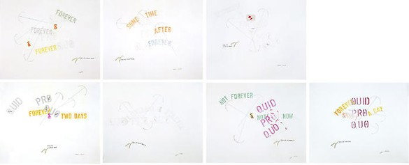 Lawrence Weiner, Seven Hills of Rome, 2008 Mixed media on paper, 7 panels: 32 × 40 inches each (81.3 × 101.6 cm)