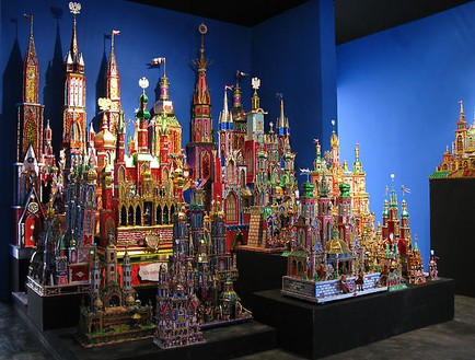 Piotr Uklański, Untitled (Szopki Krakowskie), 2008 Tin foil, cardboard, wood and light fixtures, Dimensions variable