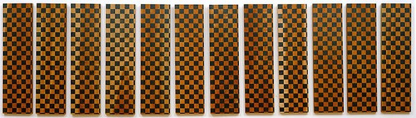 Sherrie Levine, Untitled (12 checked paintings), 1998 Pencil on cherrywood, 12 panels: 23 ⅝ × 6 ¼ × ⅜ inches each (60 × 15.9 × 1 cm)
