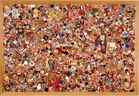 Mike Kelley, Memory Ware Flat #34, 2003 Mixed media on wood panel, 77 × 53 inches (195.6 × 134.6 cm)