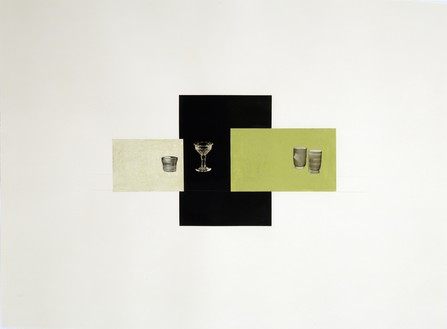 Rachel Whiteread, GREEN, BLACK, GREEN, 2008 Gouache, pencil, and collage on paper, 22 ⅜ × 29 ⅞ inches (57 × 76 cm)© Rachel Whiteread