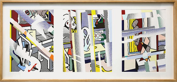 Roy Lichtenstein, Collage Study for Reflections on Marvel Mural, 1993 Collage, 3 panels: 2 at 28 × 20 inches (71.1 × 50.8 cm); 1 at 28 × 22 inches (71.1 × 55.9 cm)