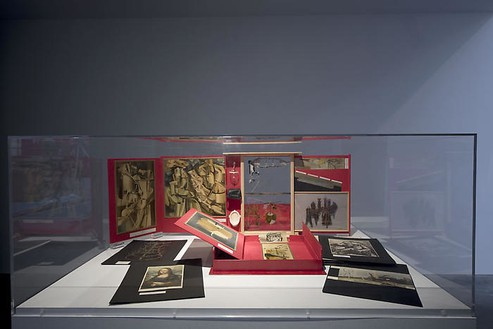 Marcel Duchamp, Boîte en Valise, 1935–41 Leather valise containing miniature replicas, photographs and color reproductions of works by Duchamp, 16 × 15 × 4 inches (40.7 × 38.1 × 10.2 cm)