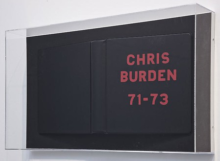 Chris Burden, Chris Burden Deluxe Photo Book, 1974 (view 1) 75 photos framed with hand painted cover, 12 × 12 inches each (30.5 × 30.5 cm), edition of 50