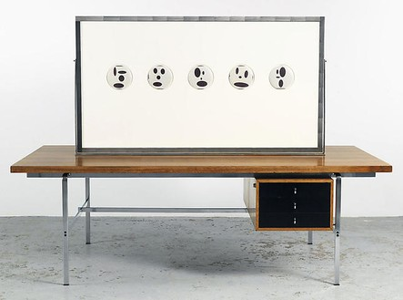 Richard Prince, Untitled (Original), 2008 Double sided publicity work and desk, 64 × 43 ¼ × 86 ½ inches (162.6 × 109.9 × 219.7 cm)