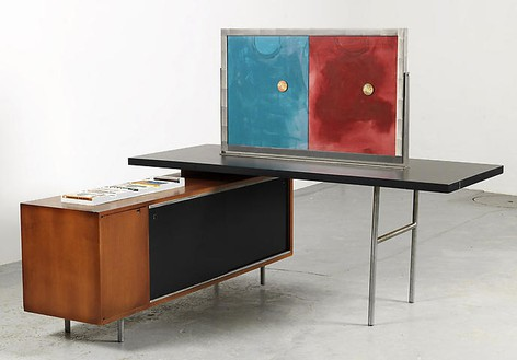 Richard Prince, Untitled (Original), 2008 Furniture and double sided frame, 56 × 54 × 24 inches (142.2 × 137.2 × 61 cm)