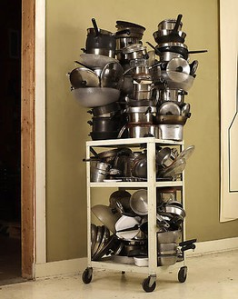 Robert Therrien, No title (pots + pans cart), 1999–2008 Steel, stainless steel, plastic, cast iron and glass ceramic, 86 × 42 × 35 inches overall (218.4 × 106.7 × 88.9 cm)