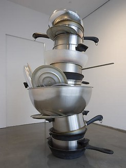 Robert Therrien, No title (pots and pans II), 2008 Metal and plastic, 108 × 66 × 80 inches (274.3 × 167.6 × 203.2 cm)Photo by Robert McKeever