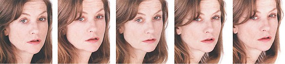"Roni Horn, Untitled (Isabelle Huppert), 2004 Standard Chromogenic print on Fuji Crystal Archive mounted on 1/8"" sintra, 5 images: 13 ½ × 11 inches each (34.3 × 27.9 cm); Mounted: 15 × 12 ½ inches each (38.1 × 31.8 cm), edition of 4"