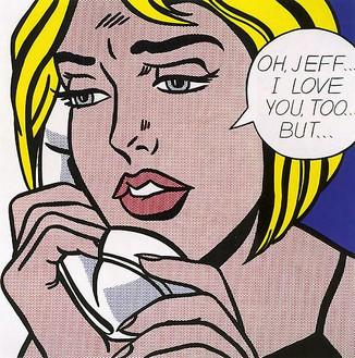 Roy Lichtenstein, Oh, Jeff...I Love You, Too...But..., 1964 Oil and Magna on canvas, 48 × 48 inches (121.9 × 121.9 cm)© Estate of Roy Lichtenstein