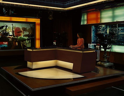 Taryn Simon, Alhurra TV, Broadcast Studio, Springfield, Virginia, 2006–07, from the series An American Index of the Hidden and Unfamiliar, 2007 Chromogenic print, framed: 37 ¼ × 44 ½ inches (94.6 × 113 cm), edition of 7 + 2 AP© Taryn Simon