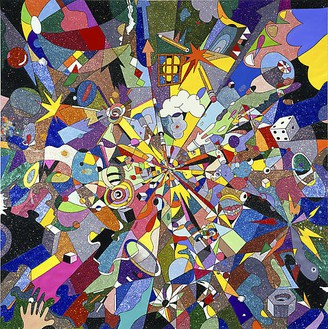 Tom Friedman, Big Bang, 2008 Glitter, and mixed media on paper, 120 × 120 × 2 ½ inches (304.8 × 304.8 × 6.4 cm)
