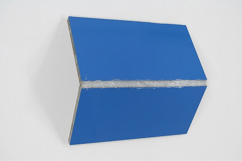 Steven Parrino, Bentoverslime 2, 1995 Enamel and silicon on honeycomb aluminum panel, 44 × 49 ⅛ × 15 inches (111.8 × 124.8 × 38.1 cm)