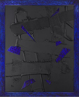Anselm Reyle, Untitled, 2008 Mixed media on canvas, stainless steel frame with enamel varnish, 96 ⅜ × 75 ¼ inches (242 × 191 cm)