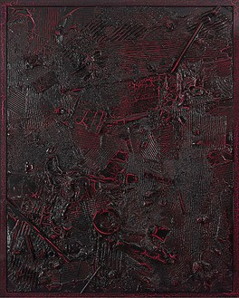 Anselm Reyle, Untitled, 2008 Mixed media on canvas, crinkle lacquered frame, 95 ⅜ × 75 ¼ inches (242 × 191 cm)