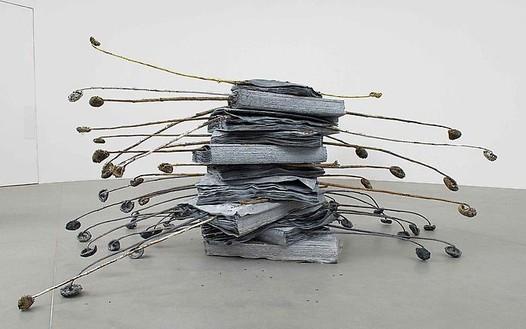 Anselm Kiefer, Danae, 2008 Lead, gold granules and aluminum sunflowers, 53 ¼ × 63 × 149 ½ inches (135.3 × 160 × 379.7 cm)