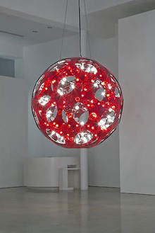 Carsten Höller, Red Double Sphere Hanging, 2008 Acrylic glass, bearing, 90 light bulbs, sockets, DMX controller, cables, Diameter: 86 ½ inches (220 cm)Photo by Joshua White