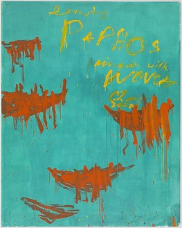 Cy Twombly, Leaving Paphos Ringed with Waves (II), 2009 Acrylic on canvas, 105 5/16 × 83 ⅝ inches (267.4 × 212.3 cm)