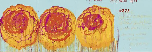 Cy Twombly, The Rose (I), 2008 Acrylic on plywood, 99 ¼ × 291 ⅜ inches (252 × 740 cm)© Cy Twombly Foundation