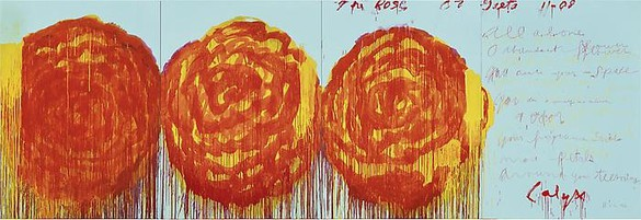 Cy Twombly, The Rose (II), 2008 Acrylic on plywood, 99 ¼ × 291 ⅜ inches (252 × 740 cm)© Cy Twombly Foundation