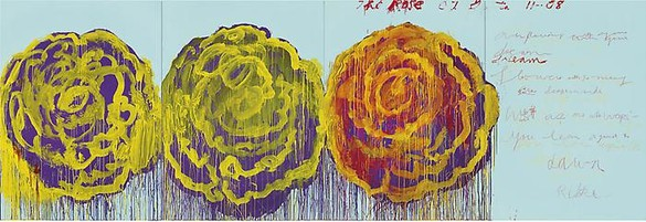 Cy Twombly, The Rose (III), 2008 Acrylic on plywood, 99 ¼ × 291 ⅜ inches (252 × 740 cm)© Cy Twombly Foundation