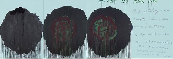 Cy Twombly, The Rose (V), 2008 Acrylic on plywood, 99 ¼ × 291 ⅜ inches (252 × 740 cm)© Cy Twombly Foundation