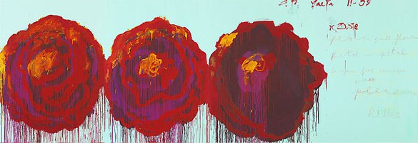 Cy Twombly, The Rose (IV), 2008 Acrylic on plywood, 99 ¼ × 291 ⅜ inches (252 × 740 cm)© Cy Twombly Foundation