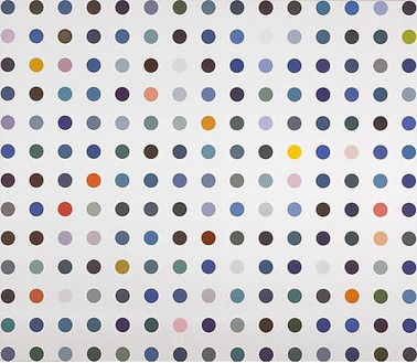 Damien Hirst, Barium Cyuanamide-C, 2007 Household gloss paint on canvas, 100 × 116 inches (254 × 294.6 cm)© Damien Hirst and Science Ltd. All rights reserved, DACS 2009