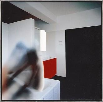 Richard Hamilton, Bathroom - fig. 1, 1997 Oil on Cibachrome print on canvas, 19 ¾ × 19 ¾ inches (50 × 50 cm)