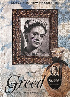 Francesco Vezzoli, Enjoy The New Fragrance (Frida Kahlo for Greed), 2009 Inkjet, wool, cotton, metallic embroidery and custom jewelry on brocade, 70 ⅞ × 51 3/16 inches (180 × 130 cm)