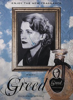Francesco Vezzoli, Enjoy The New Fragrance (Lee Miller for Greed), 2009 Inkjet, wool, cotton, metallic embroidery and custom jewelry on brocade, 70 ⅞ × 51 3/16 inches (180 × 130 cm)