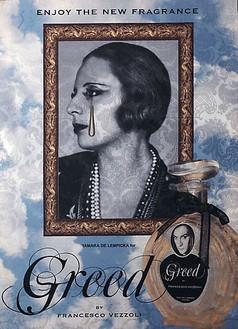 Francesco Vezzoli, Enjoy The New Fragrance (Tamara De Lempicka for Greed), 2009 Inkjet, wool, cotton, metallic embroidery and custom jewelry on brocade, 70 ⅞ × 51 3/16 inches (180 × 130 cm)