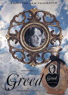 Francesco Vezzoli, Enjoy The New Fragrance (Niki de Saint Phalle for Greed), 2009 Inkjet, wool, cotton, metallic embroidery and custom jewelry on brocade, 70 ⅞ × 51 3/16 inches (180 × 130 cm)