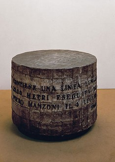 Piero Manzoni, Linea m 7200, 1960 Ink on paper, cylinder covered with lead sheets, 26 × 37 ¾ × 37 ¾ inches (66 × 96 × 96 cm)Photo: Herning Kustmuseum, Denmark