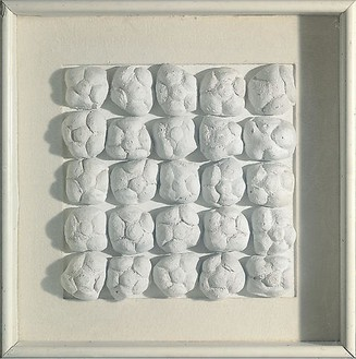 Piero Manzoni, Achrome, 1962 Kaolin and bread rolls, 15 ⅜ × 15 ⅜ inches (39 × 39 cm)Photo: Byblos Art Gallery, Verona