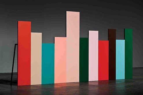 Mike Kelley, Horizontal Tracking Shot of a Cross Section of Trauma Rooms, 2009 Acrylic on wood panels, steel video monitors, DVD players, 96 × 192 × 1 ¾ inches (243.8 × 487.7 × 4.4 cm)